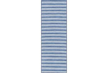 """2'6""""X7'3"""" Outdoor Rug-Denim & Cream Cottage Stripe"""