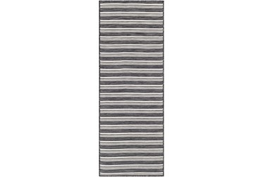 """2'6""""X7'3"""" Outdoor Rug-Charcoal & Cream Cottage Stripe"""