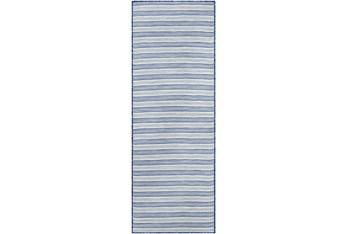 """2'6""""X7'3"""" Outdoor Rug-Denim & Cream Fuzzy Stripe"""