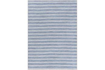 """6'6""""X9' Outdoor Rug-Denim & Cream Fuzzy Stripe"""