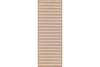 "2'6""X7'3"" Outdoor Rug-Burnt Orange & Cream Fuzzy Stripe"
