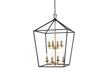 Martin 26X39.3 Blk/Gold 8Lt Lantern Chandelier