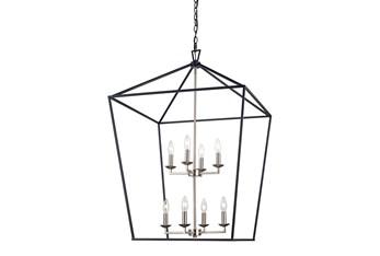 Martin 19X26 Blk/Bn 8Lt Lantern Chandelier