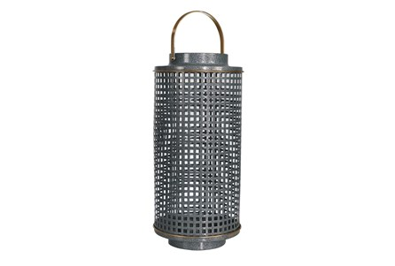 14 Inch Metal Turq Grid Candle Holder - Main