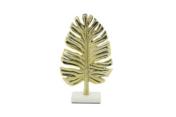 "9"" Gold Metal Palm Leaf Table Deco"