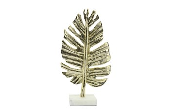 "18"" Gold Metal Palm Leaf Table Deco"