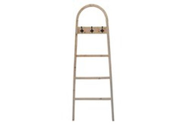"""68"""" Brown Wooden Decorative Ladder With Hooks"""