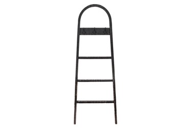 68 Inch Black Wooden Decorative Ladder With Hooks