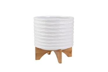 "11"" White Stripe Ceramic Planter On Stand"