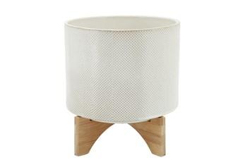 "11"" White/Tan Dot Ceramic Planter On Stand"