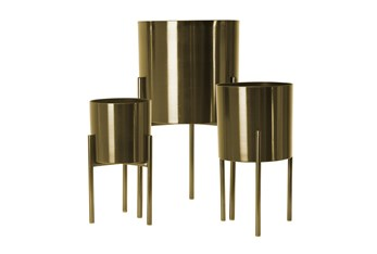 """18/15/12"""" Goldset Of Three Metal Planters On Stand"""