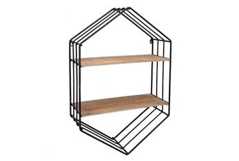 "20"" Metal/Wood Hexagon Shelf"