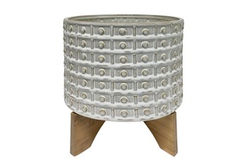 """11"""" Ivory Ceramic Dotted Planter With Wood Stand"""