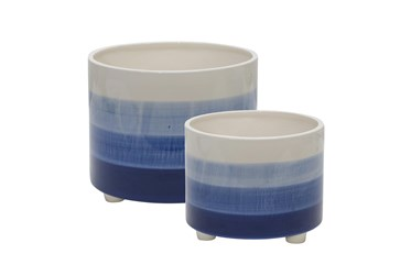 10 Inch and 12 Inch Blue Mix Ceramic Footed Planter Set of 2