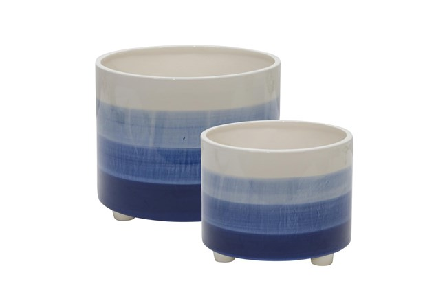 """10/12"""" Blue Mix Set Of Two Ceramic Footed Planter - 360"""