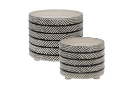 "10/12"" Set Of Two Gray Ceramic Diamond Footed Planter"