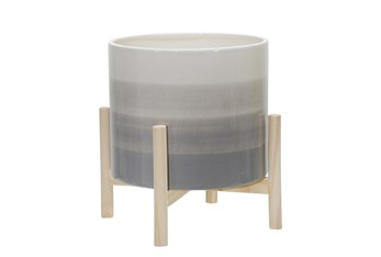 """12"""" Beige Ceramic Planter With Wood Stand"""