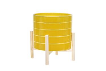 "12"" Yellow Ceramic Striped Planter W/ Wood Stand"