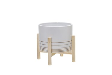 8 Inch White Ceramic Metallic Planter W/ Wood Stand