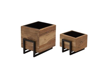 """7 & 10"""" Square Planters Wood And Metal Set Of Two"""
