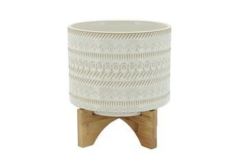 """8"""" Beige Tribal Planter With Wood Stand"""
