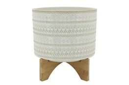 """11"""" Beige Tribal Planter With Wood Stand"""