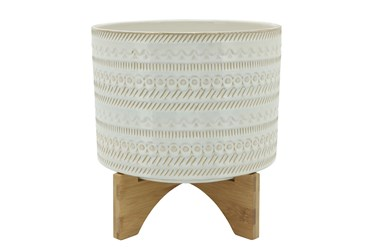 11 Inch Beige Tribal Planter With Wood Stand