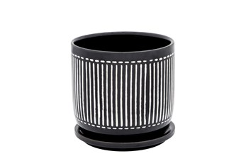 """6"""" Black Vertical Lines Planter With Saucer"""