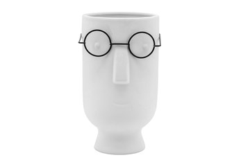 """9"""" Face With Glasses Planter, White"""