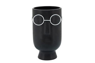 """9"""" Face With Glasses Planter, Black"""