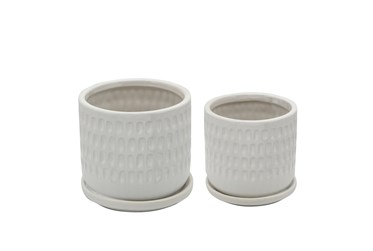 5 Inch and 6 Inch White Hammered Planters With Saucer Set Of 2