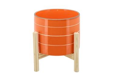 "8"" Orange Striped Planter W/ Wood Stand"