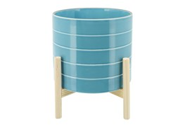 """10"""" Skyblue Striped Planter W/ Wood Stand"""