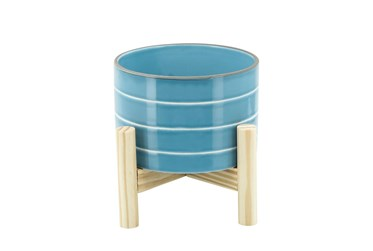 """6"""" Skyblue Striped Planter W/ Wood Stand"""