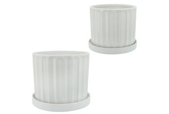"""Set Of Two 10 & 12"""" White Ridges Planter With Saucer"""