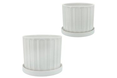 10 Inch & 12 Inch White Ridges Planter With Saucer Set of 2