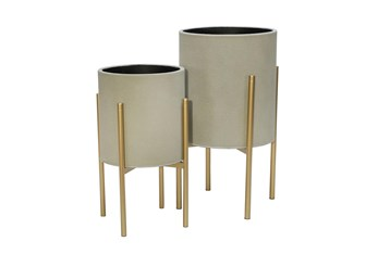 GRAY/GOLD SET OF TWO PLANTER ON METAL STAND