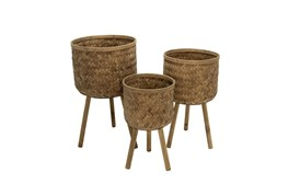 Set Of Three, Bamboo Planters 11/13/15 Inch Brown