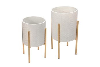 White/Gold Set of Two Textured Planter on Metal Stand