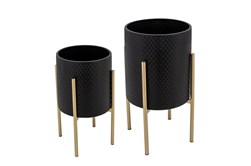 BLACK/GOLD SET OF TWO TEXTURED PLANTER ON METALSTAND