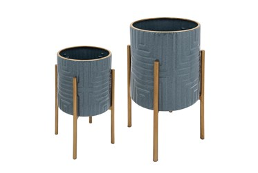 Slate Blue/Gold Set Of Two Planters On Metal Stand