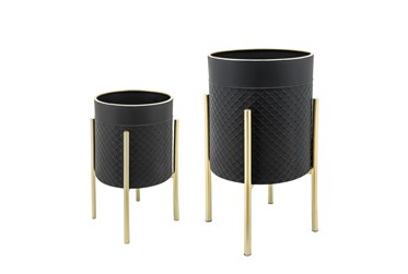 Black/Gold Set Of Two  Scales Planter On Metal Stand