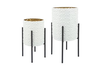 WHT/GLD/BLK SET OF TWO AZTEC PLANTER ON METAL STAND