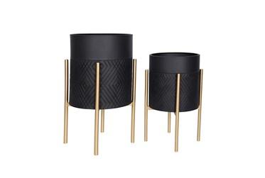 Black/Gold Set Of Two Diamond Planter On Metal Stand