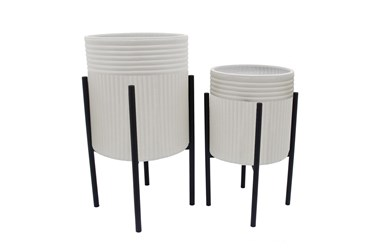 White/Black Set Of Two Dunes Planter On Metal Stand