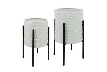 White S/2 Dotted Planters In Metal Stand