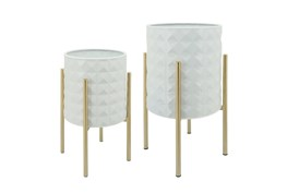 White S/2 Diamond Planters In Metal Stand