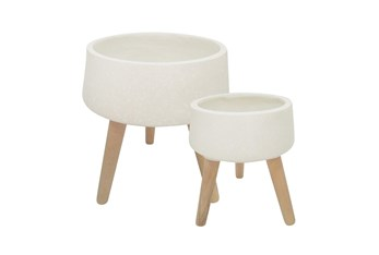 WHITE SET OF TWO 11 & 15 INCH TERRAZZO PLANTER WITH WOOD LEGS