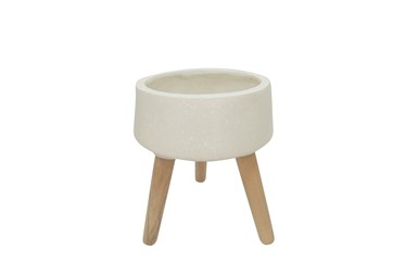 18 Inch White Terrazzo Planter With Wood Legs