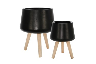 Matte Black Set Of Two 11 & 15 Inch Planter With Wood Legs